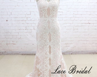 Wedding Dress, Lace Wedding Dress, Wedding Gown, Bridal Dress, Nude Blush Wedding Dress, Sheath Wedding Dress