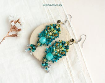 Turquoise quartz, beaded earrings, bohemian, boho chic, tribal, teal, macrame earrings, micro-macrame jewelry, long, dangling, beadwork