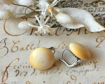 1800s antique French drop earrings ~ celluloid and sterling silver