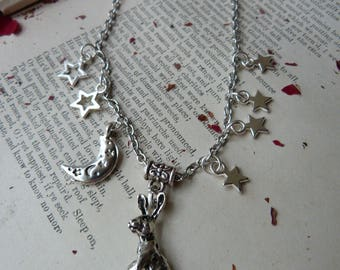 Moon gazing hare - starry charm necklace