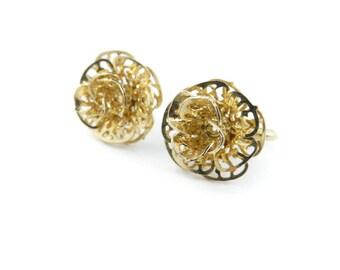 Vintage Filigree Flower Earrings, Clip Ons