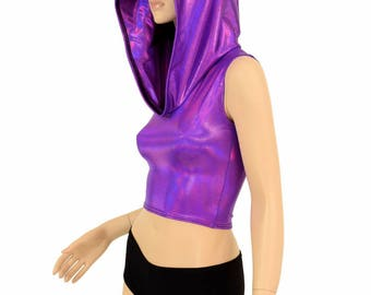 Grape Purple Holographic Sleeveless Crop Hoodie w/Self-Lined Hood Rave Festival Clubwear - 150198
