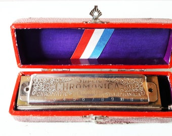 Antique Hohner Super Chromatica Harmonica in the Key of G - With Original Box