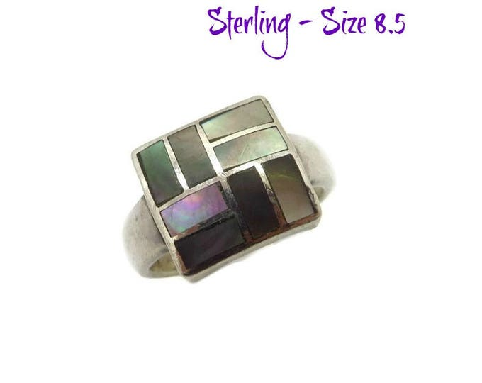 Sterling Silver Abalone Ring | Vintage Square Faced Inlay Ring | Size 8.5