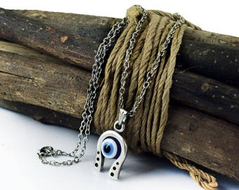 Horse shoe evil eye protection necklace, Greek Mati, Hamsa, Nazar, Evil Eye Jewelry