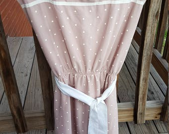 Tan and White Polka Dot Vintage Summer Dress