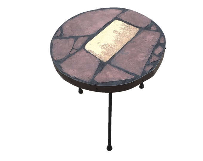 "Dendritic Stool #2: An 18"" diameter x 18"" tall stone topped folk art table with a semiprecious focus stone."