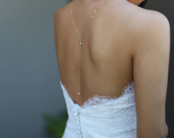 Wedding Dress Back CZ Drop Necklace // Bridal Jewelry for wedding dress //Back chain Y Lariat Necklace Jewelry  EL022