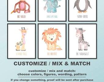 watercolor animal nursery art, baby animal nursery, safari nursery decor, zoo animals kids room art, baby animals be brave Print/Canvas/Dig