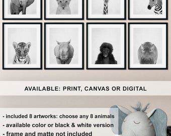 Nursery print set Safari Black and white, Safari Nursery animal wall art, Baby animal prints nursery, Jungle animals photo Print/Canvas/Digi