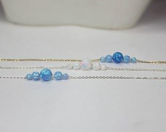 Opal necklace/bracelet. Fire opal 6 mm blue Opal necklace. White Opal Necklace. Girlfriend gift.gift for wife.everyday bracelet  anniversary