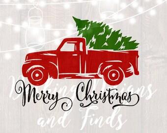 DIGITAL DOWNLOAD svg png merry christmas truck tree retro vintage winter holiday silhouette cricut cut file vinyl HTV boy girl shirt print