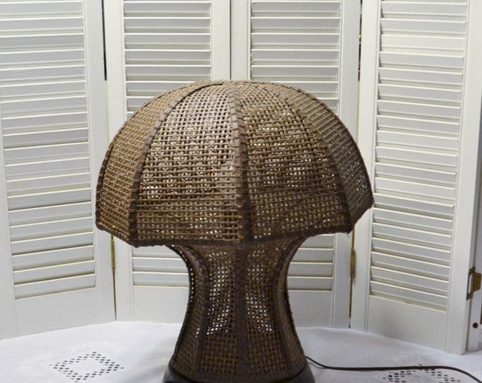 Vintage Brown Wicker Mushroom Table Lamp Retro Accent Lighting Bohemian Hippie Decor PanchosPorch