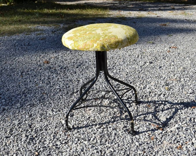 Vintage Metal Vanity Stool Adjustable Height Rotating Black Wrought Iron Style Upholstered Seat PanchosPorch