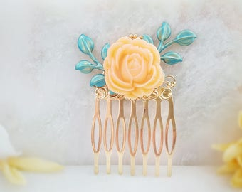 Wedding Hair Comb Blue ~ Turquoise Hair Comb ~ Bridal Hair Accessory Blue ~ Something Blue for Bride ~ Rose Hair Comb ~ Yellow Flower H2037