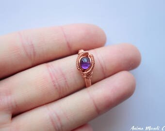 Amethyst Ring size 7.5, Wire wrapped Amethyst wire ring, Heady ring, Raw crystal ring Recycled Dainty Copper ring Amethyst jewelry Her ring