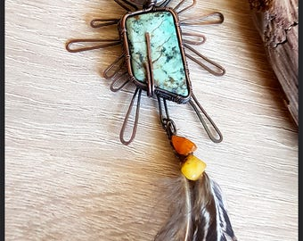 Aztec pendant with turquise and amber