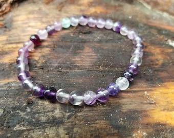 Fluorite gemstone beaded strech bracelet