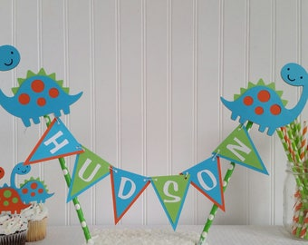Personalized Dinosaur Birthday Party Cake Topper