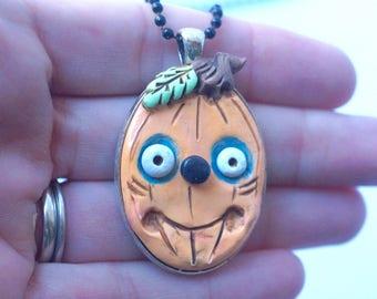 Pumpkin Jack Pendant for Halloween from Polymer clay folk art primitive goth
