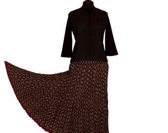 Block Printed CRINKLE SKIRT - One size 8 to 18 - Black with Brown and Beige motif