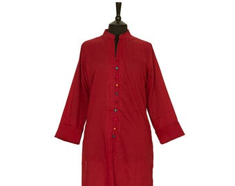 TUNIC – All sizes – Red Tunic with multi coloured buttons – 100% cotton