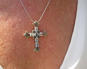 Ornate Topaz, Marcasite and Sterling Silver Cross Pendant Necklace