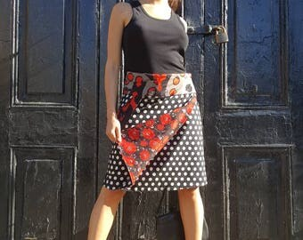 Free Size Reversible Wrap Cotton Knee Length Skirt on RED and BLACK patterns Print