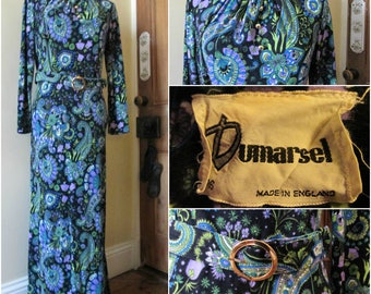 Vibrant  Vintage Dumarsel Black  Paisley 70s Maxi Dress uk 16