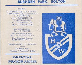 Vintage Football (soccer) Programme - Bolton Wanderers v Bristol City, 1966/67 season