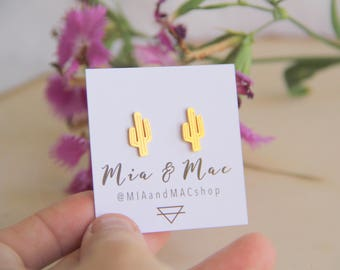 Cactus post earrings, Cactus Earrings ,Gold Cactus Earrings, Minimalist Gold Jewelry, Bridesmaid Gift, Christmas Gift, Simple Modern Jewelr