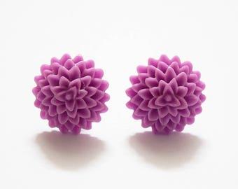 Super Cute Pale Purple Flower Design Silver Plated Stud Earrings