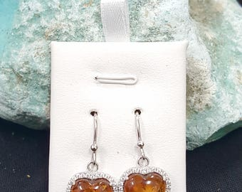 Baltic Amber Heart Dangle Earrings-sterling silver