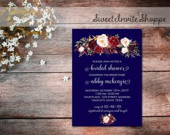 Navy Marsala Bridal Shower Invitation, Navy Burgundy Floral Invitation, Navy Marsala Wedding Invitation, Bridal Shower Invitation, Printable