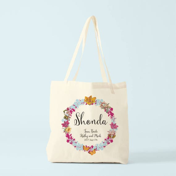 Canvas bag, Team Bride, bridesmaid gift, Blue and pink version.