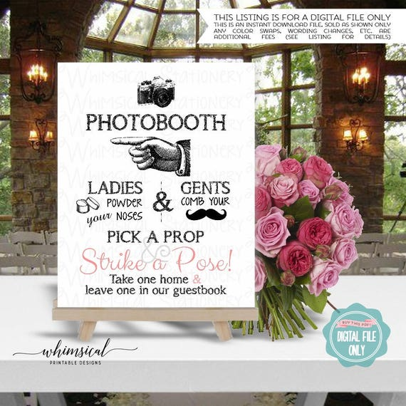 Photo Booth Sign White Left Printable File Only Strike A Pose