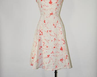 50s white strappy dress / 1950s red floral dress / vintage beaded sundress