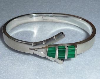 Taxco (Mexico). Bracelet. Silver and malachite. Vintage.