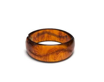 Vintage Bakelite Clamper Bracelet, Root Beer or Iced Tea Bakelite, Carved Bakelite Bangle, Costume Jewelry
