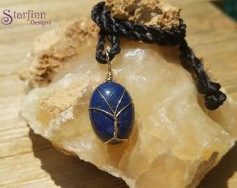 Lapis Lazuli Necklace, Brilliant Blue Lapis Pendant, Blue and Gold Wire Wrap, Lapis Gold Pendant, Gold Wire Jewelry, Wire Wrapped Pendant