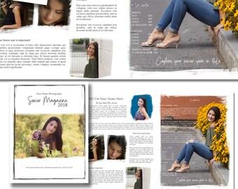 Magazine Template - Senior Photography - Photography Marketing Template - Senior Portraits Magazine, Mini Magazine, Marketing Packet