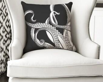 18x18 Octopus Pillow - Beach Decor - Black and White Decor Pillow or Pillow Cover - Nautical Pillow - Nautical Decor - Nautical Gifts