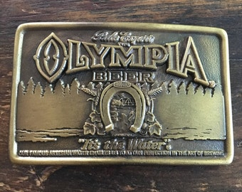 Vintage 1977 Olympia Beer Brass Belt Buckle / Olympia Brewing Company / Indiana Metal Craft / It's The Water / Good Luck / St. Paul / Pale