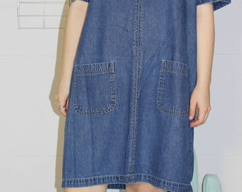 boxy soft denim dress with pockets