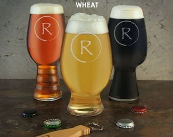Personalized Craft Beer Gift Set of IPA, Stout, & Wheat Beer Glasses Engraved with Monogram Design Options with Font Selection (Set of 3)
