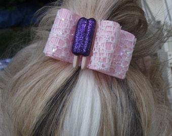Purple sparkle popsicle dog hair bow 7/8 inch or 5/8 inch