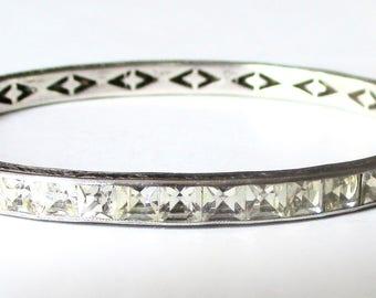 Art-Deco Sterling Silver & Paste Bangle Bracelet