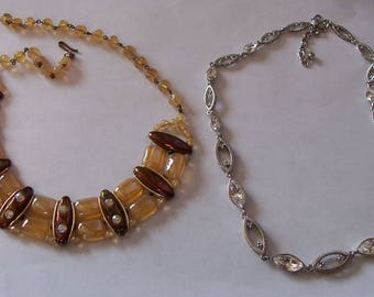 Two Beautiful Vintage Chokers ~ One Signed West Germany ~ Butterscotch and Rhinestones! ~ FREE SHIPPING!