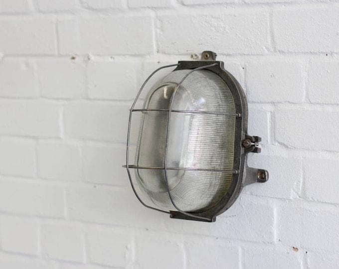 Wall Mounted Czech Industrial Bulkhead Light Circa 1950s