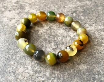 Green Agate Bead Bracelet / Agate Bracelet / Agate Bead Bracelet / Green Bead Bracelet / Green Stretch Bracelet / Green Bracelet
